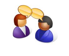Menschen mit Sprechblase